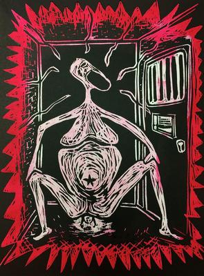 Anne Drager: Birth_in_Jail (woodcut, 12 x 16)